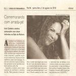 Diario de Pernambuco 05/08/10 - Irah comemora niver no Sala de Reboco