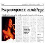 Diário de Pernambuco 21/05/03 - Festa para o repente no teatro do Parque