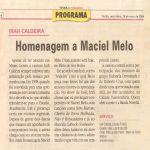 Folha de Pernambuco 28/05/04 - Homenagem a Maciel Melo