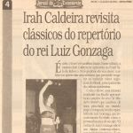 Jornal do Commercio 05/01/01 - Irah cantando Gonzaga no Sala de Reboco