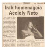 Folha de Pernambuco 23/11/00 - Homenagem a Accioly Neto e Lança CD Mistura Brasil